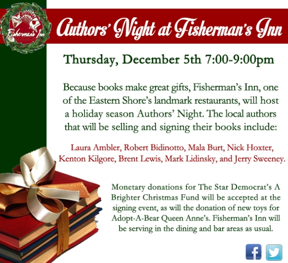 Fisherman's Inn on Kent Island hosts an Author's Night.