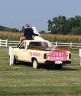 couple wedding in truck