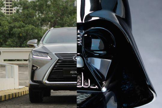 Darth Vader beside Lexus 69ee945ef89ba49dbd7c97633dca5fdb